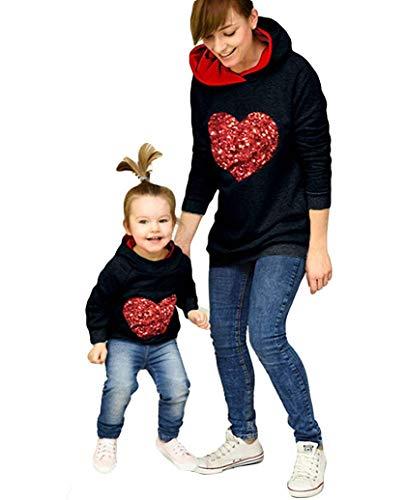 Madre e Hija Sudadera de Manga Larga con Capucha Top de Mamá y Niña Estampado de Corazón con Lentejuelas