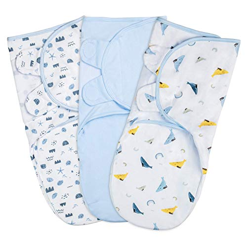 YOOFOSS Juego de 3 Envoltura Swaddle Manta 100% Algodón Saco de Dormir Manta de Arrullo Cobija Ajustable Swaddle Blanket Unisexo para Bebés Recien Nacidos 0-2 Meses