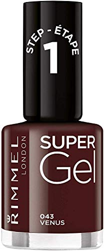 Rimmel London Super Gel van Kate Moss nagellak Duo Pack, schaduw 12, Soul Session, nude Pack of 1 donkerrood