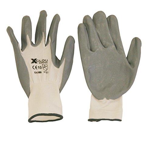 Xclou Universalhandschuh in Grau, Nylonhandschuh für Handwerk, Hobby und Garten mit Strickbund, anschmiegsamer Arbeitsschutz nitrilbeschichtet, Größe 8 (M),