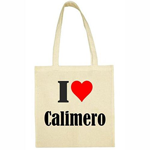 Tasche I Love Calimero Größe 38x42 Farbe Natur Druck Schwarz