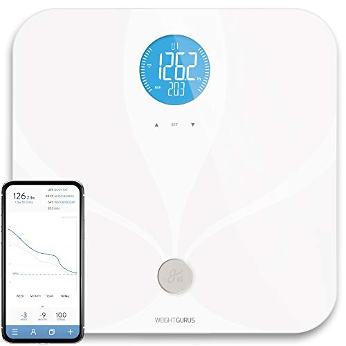 WiFi Smart Connected Body Fat Báscula de baño por Weight Gurus, visualización LCD retroiluminada, tecnología ITO conductive Surface, alertas de salud de precisión precisa, mediciones y monitoreo, Blanco, Blanco
