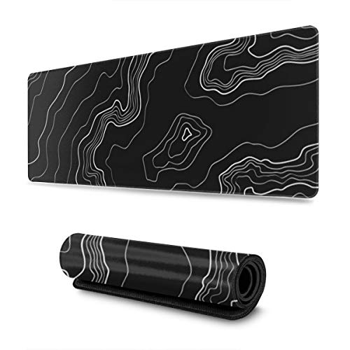 Black White Topography Map Mouse Pad Large Mousepad with Premium-Textured Cloth, Non-Slip Waterproof Stitched Edges Mouse Mat 31.5 x 11.8 inch
