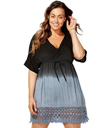 SWIMSUITSFORALL Swimsuits for All Women's Plus Size Ombre Tunic Swimsuit Cover Up 18/20 Black