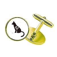 黒猫のスケッチ動物と白影 スタッズビジネスシャツメタルカフリンクスゴールド