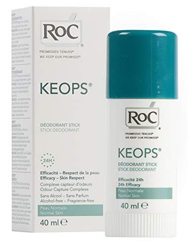 RoC - KEOPS Deodorant Stick - 24 Stunden Frisch - Antitranspirant - Langlebiger Schutz - Für Normale Haut - Frei von Alkohol, Duftstoffen und Aluminiumsalzen - 40 ml