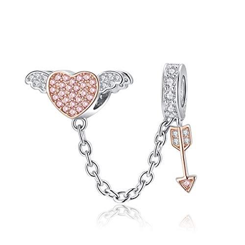 Plata esterlina Pluma colorida Cupido Flecha Mariposa Corazón Árbol de la vida Copa de vino Encantos de animales para adaptarse a la pulsera Pandöra para mujeres y niñas(Charm Flecha de Amor Cupido)
