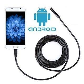 Cámara endoscópica con luz, cable, sonda flexible, USB, Android, inspección, 2 m.