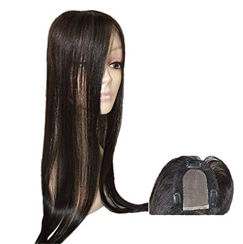 Virgin Human Hair Piece Topper für Frauen mit dünner werdendem Haar, Clip in 8,9 x 10,2 cm, handgebunden, Mono-Haar-Topper, 76,2 cm, Off Black