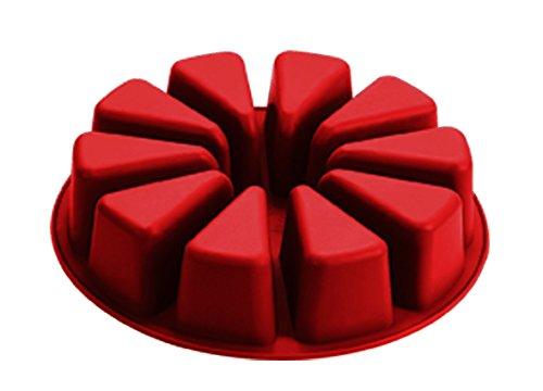 Moldes, Silicona 28x 28x 6cm, tamaño Grande, Silicona Redondo cuña Individuales porción Tarta Molde de Pan, Color Rojo y marrón