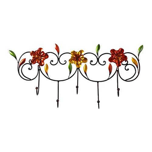 Percheros pared Montado en la pared Perchero de hierro forjado de cosecha de flores Coat rack Ganchos for Sombrero monedero dominante Bolsa Cocina Baño Dormitorio Puerta de entrada Cuelga Llaves Pared