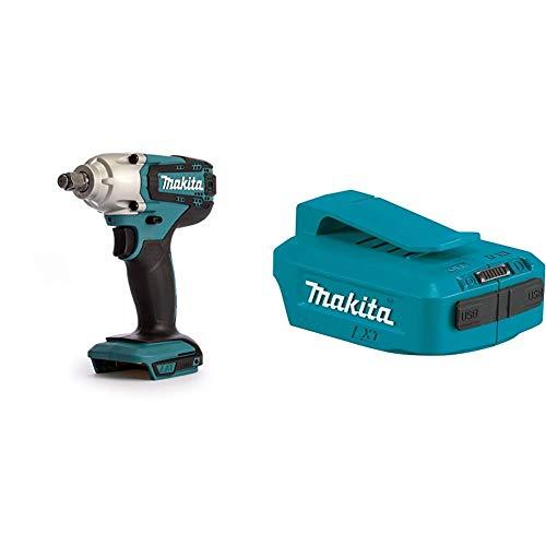 Makita llave impacto - L8v li-ion 190nm + Makita DEAADP05 - Adaptador USB, 18 V, color azul