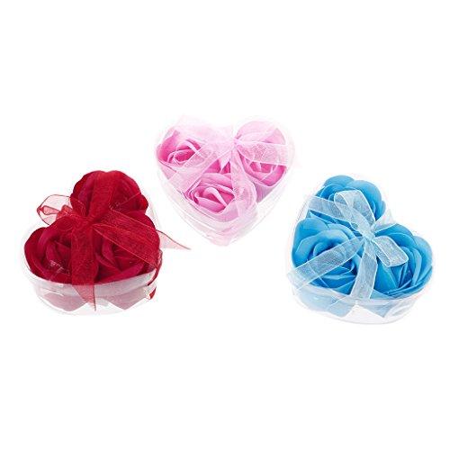 ZZALLL3 Unids/Set Jabón de Baño Perfumado con Flor de Pétalo de Rosa + Caja en Forma de Corazón para Regalo de Boda