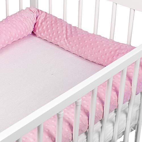 Bettschlange baby Nestchenschlange Bettrolle - Bettumrandung Babybettschlange Babybett umrandungen Babynestchen für Kinderbett (Rosa Minky, 300 cm)