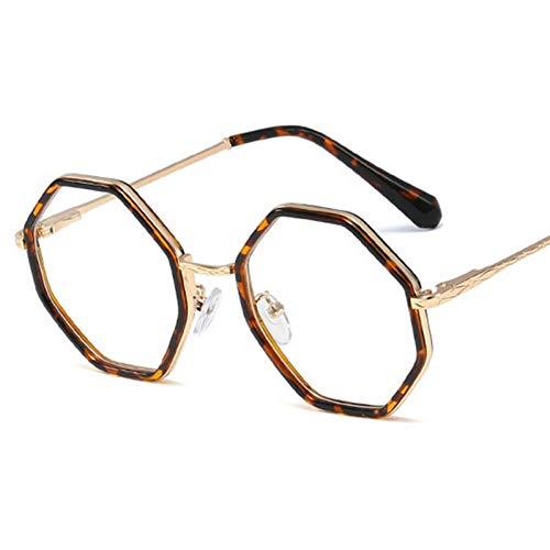 N/ A Achteckige Brille Männer und Frauen Oculos De Grau Retro transparente Gläser Brille Rahmen unregelmäßige Legierung runde Brille