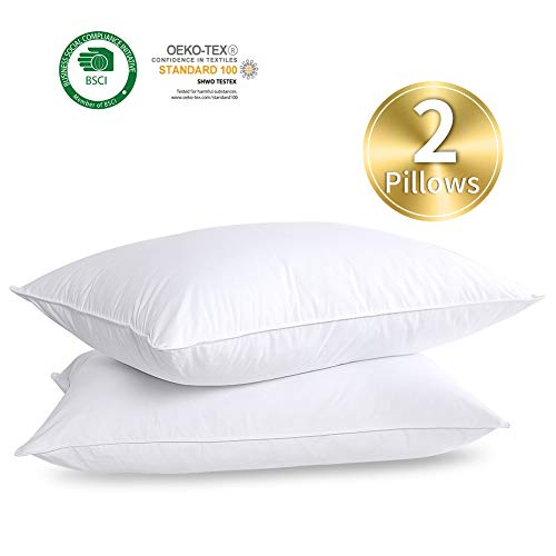 HOMBYS Goose Feather Down Soft Bed Pillows Insert for Sleeping,Standard Size,900g 30oz Fill Weight Medium Support,Hotel Collection,100% Cotton Down...