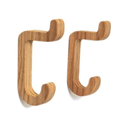 Juego de 2 ganchos de pared de madera minimalista