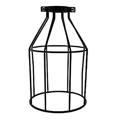Metal Bulb Guard Lamp Cage,TWDRTDD Ceiling Fan and Light Bulb Covers,Industrial Vintage Style Hanging Pendant Light Fixture Lamp Guard (Black, 1-Pack)