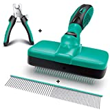 Ruff 'n Ruffus Self-Cleaning Slicker Brush + 2 Free Bonuses | 7.5' Steel Comb + Pet Nail Clippers | Grooming Supplies Great for Cats Dogs & All Breeds & Hair Types (Grooming Set (with Free Bonus))