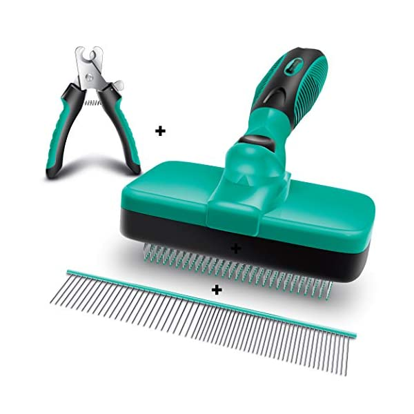 Ruff 'n Ruffus Self-Cleaning Slicker Brush + 2 Free Bonuses | 7.5″ Steel Comb + Pet Nail Clippers | Grooming Supplies Great for Cats Dogs & All Breeds & Hair Types (Grooming Set (with FREE Bonus))