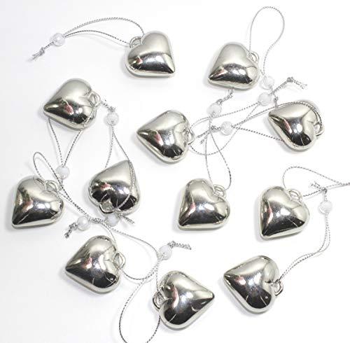Unbekannt 12er Set Dekohänger Herzhänger Dekoherzen Herz Metall Silber IK