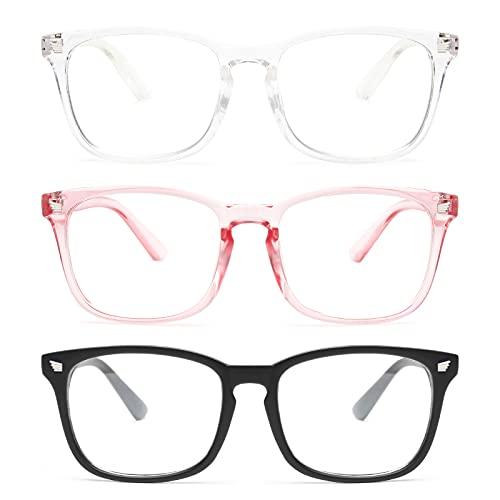 Gaoye 3-Pack Blue Light Blocking Glasses, Fashion Square Fake Nerd Eyewear Anti UV Ray Computer Gaming Eyeglasses Women/Men (Matte Black+Transparent+Pink)