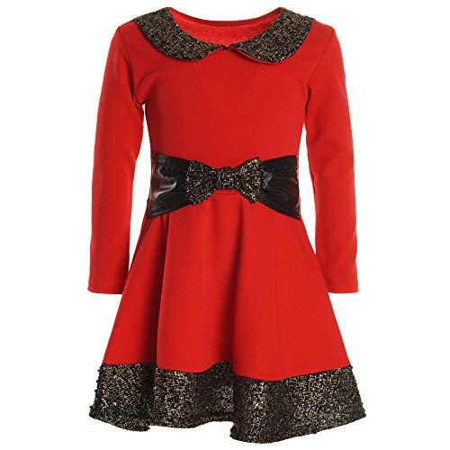BEZLIT Mädchen Kinder Spitze Winter Kleid Peticoat Fest Lang Arm Kostüm 20914 Rot Größe 116