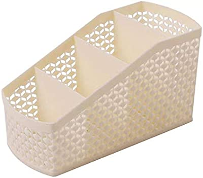 ZARPA (LABEL) 4 Section Plastic Kitchen Bathroom Office Table Desk Organizer Basket Shelf Stand Box (2 Pieces)