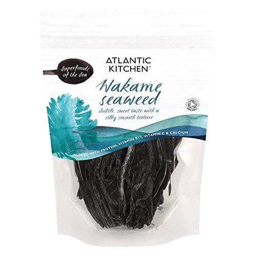 Atlantic Kitchen Wakame Algas Secas. Superalimento Orgánico Del Mar. Paquete de 6 bolsas de 40g.