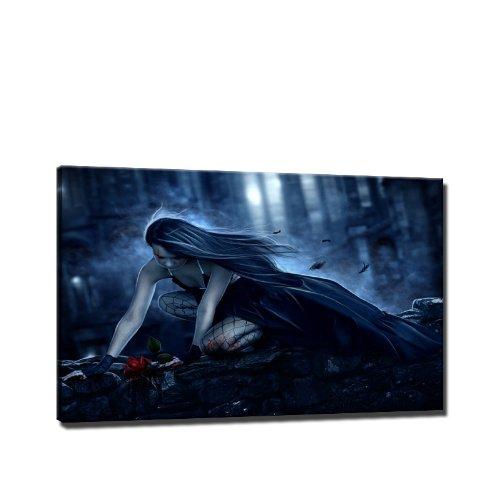 Gothic darkness Bild auf Leinwand - 60 x 40 cm - Fertig gerahmte Kunstdruck Bilder als Wandbild -...