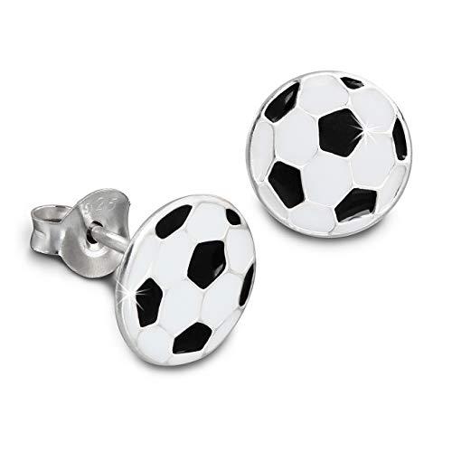 Kids SterlinX - orecchini con smalto-vernice - Pallone da calcio nero/bianco - per bambini in argento Sterling 925 - D1SDO8114S