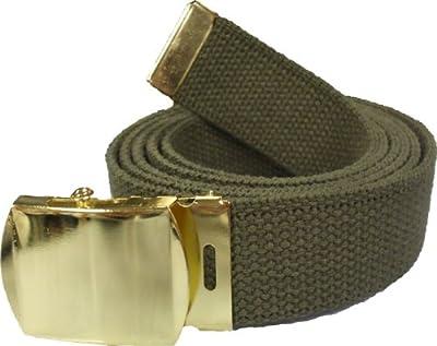 "100% Cotton Military 54"" Web Belt (Olive Belt w/Gold Buckle)"