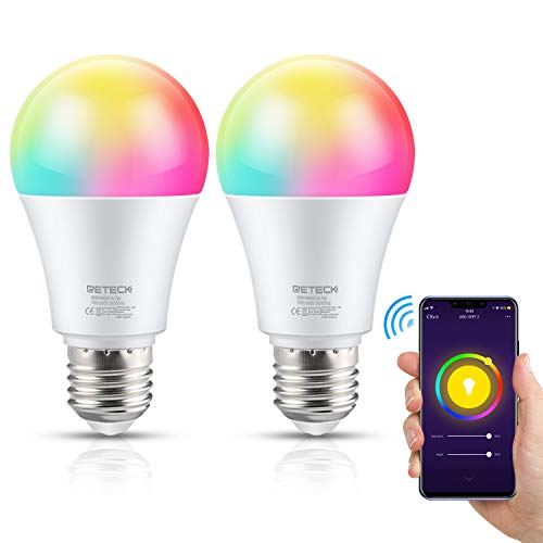 Reteck Smart WiFi LED Lampen, E27 LED Smart Wlan Glühbirnen, 7W 600LM, RGB CW WW/Dimmbar/Timing Fernbedienung via APP & Sprachsteuerung, Kompatibel mit Amazon Alexa Google Home, 2er Pack