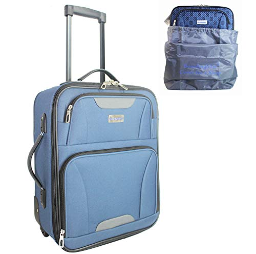 18' Rolling Personal Item Under Seat Luggage for American Frontier Spirit Southwest Airlines + Cover (Navy)