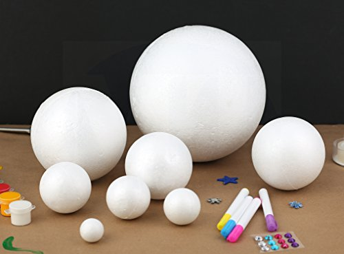 """Smooth and Durable 2"""" White Craft Foam Polystyrene Round Balls Good for Arts n' Crafts by MT Products (24 Balls)"""