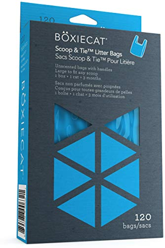 Boxiecat Scoop & Tie Litter Bags – Cat Litter Clump & Poop Bags – Leakproof - Large to Fit Any Scoop – Handles to Conveniently Tie Seal in Odors - Unscented