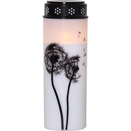 MARELIDA LED Grablicht/Grabkerze Pusteblume - warmweiße LED - Timer - weiß/schwarz (Höhe, 21)