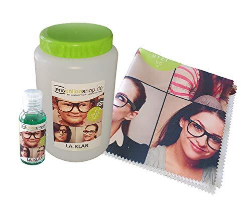 Brillenbad, Brillenputzmittel La Klar inkl. 50ml Brillenreiniger und professionellen Mikrofasertuch zur Brillenpflege