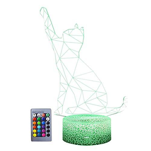 Luz nocturna 3D Cat Series ilusión lámpara 7 colores cambiantes con control remoto LED luz nocturna lámpara táctil inteligente para niños cumpleaños Navidad Día de San Valentín regalos verde