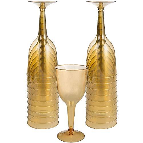 amscan 350103.19 Wijnglas, Geel Gouden kunststof wijnglazen 10 ounces Goud
