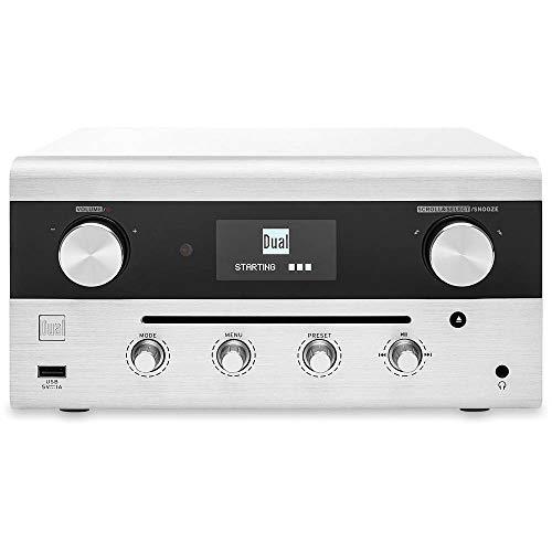 Design-Hybridradio • CD, USB, MP3, DAB+ Radio • AUX-In • UKW Radio • Musikstreaming • Spotify • Amazon Music • Stereoanlage • OLED-Display • HIFI • Kopfhöreranschluss • Weiß • Dual CR 900 Phantom