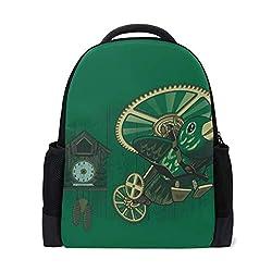 Clock Bird Cuckoo Mechanism Bookbag School Backpack Luggage Travel Sport Bag