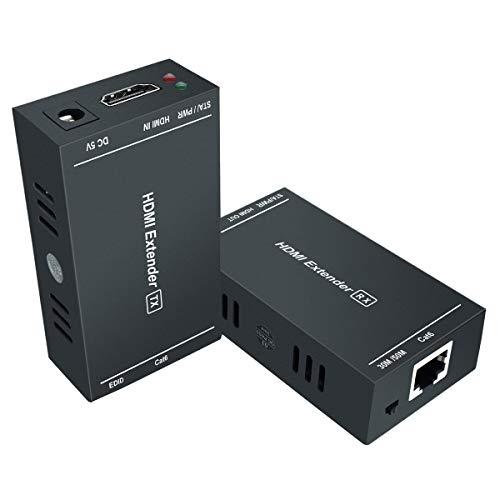 GHT HDMI Extender RJ45 1080P @ 60Hz, Ethernet HDMI Extender über EIN Einzelnes Cat5e/Cat6/Cat 7 Kabel Unkomprimierte Full HD Übertragung Bis zu 50 Meter (165 ft), EDID & POC (Sender und Empfänger)