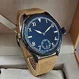Relojes Negro Reloj Mecánico Manual para Hombre Esfera Negra California Sin Logo Súper Luminoso Marrón Claro Correa Esmerilada Zafiro Cristal