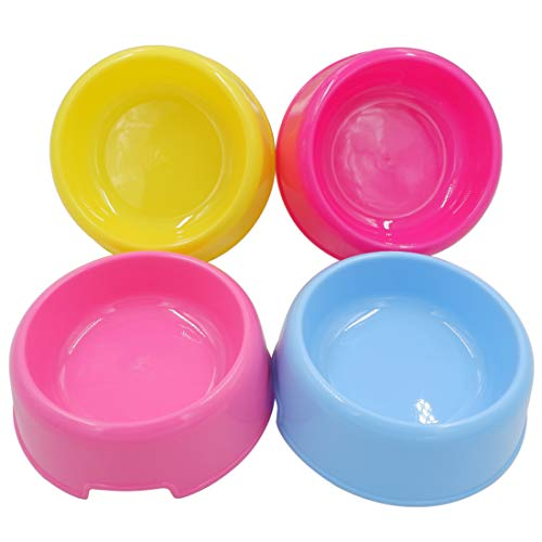 Forest Guys Dog Bowls Cat Bowls (Plastic Bowls, Yellow + Blue + Pink + Purple)