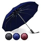 自動開閉 折りたたみ傘 大きい メンズ ワンタッチ おりたたみ傘 撥水 頑丈 晴雨兼用 折り畳み傘 100 遮光 (ブル)
