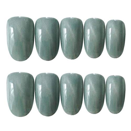 CLOAAE 24pcs Green Cat's Eye fake press on nails Artificial Art Decoration Beauty Nail Tool Pointed False Nails Tips extended nails