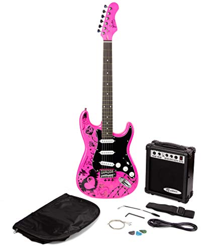 Jaxville ST1-PP-PK Pink Punk St Style Electric Guitar Pack with Guitar...
