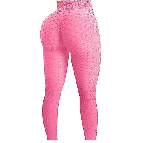 GGOOD Frauen Gym Leggings Boneycomb Texturierte Hohe Taille Yoga Hosen Cellulite Legging Multicolor Sport Strumpfhosen Für Workout Laufen Rosa M Yoga Fitness