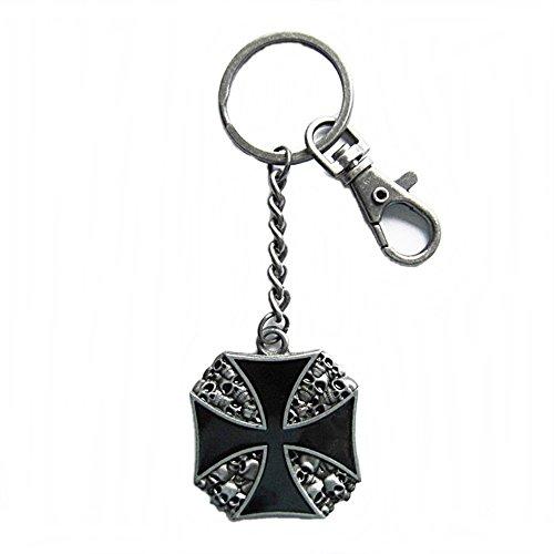 AW-Collection Schlüsselanhänger Schlüsselring mit Karabiner Eisernes Kreuz Totenkopf